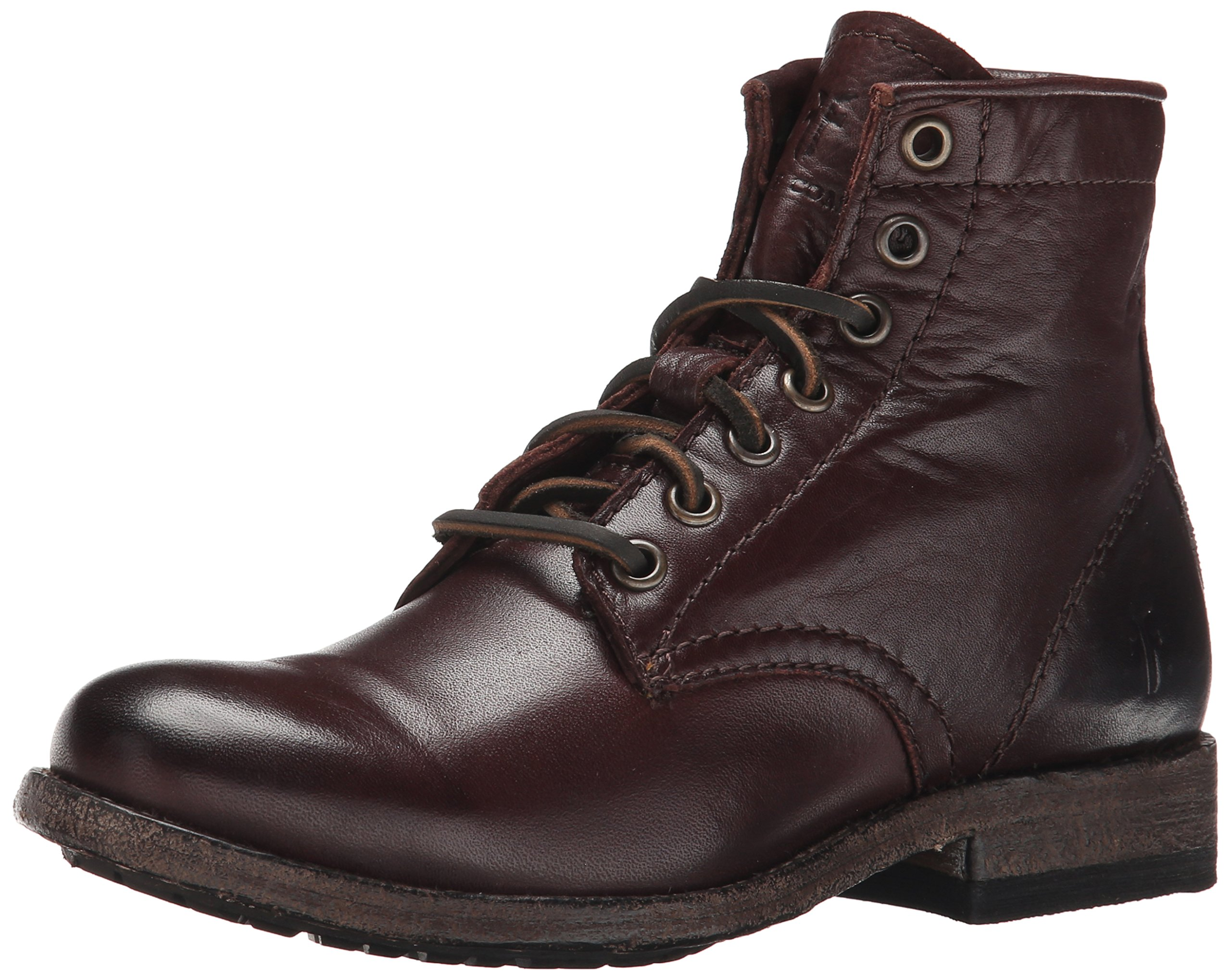 FRYE Women's Tyler Lace Up-SVL Combat Boot, Dark Brown, 8.5 M US