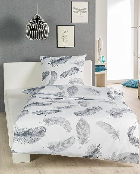Wunderschöne Renforcé Baumwolle Bettwäsche Federn Weiß Grau