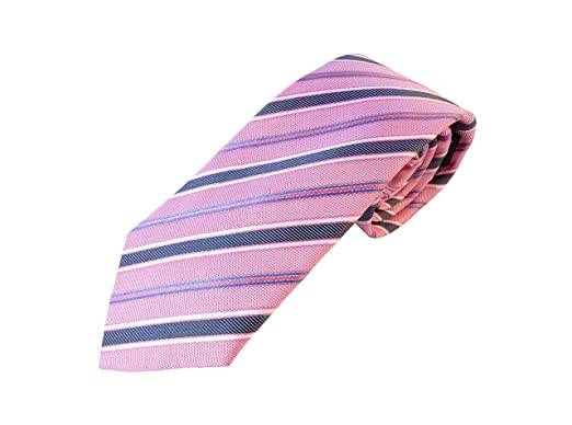 Corbata rosa a rayas azules, fabricada a mano, 100% seda, el ...