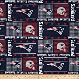 NFL Wide Cotton Broadcloth New England Patriots Patchwork Blue/Red Fabric By The Yard