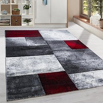 Wohnzimmer grau weis rot  Amazon.de: Moderner Design Konturschnitt Kurzflor Guenstige Teppich ...