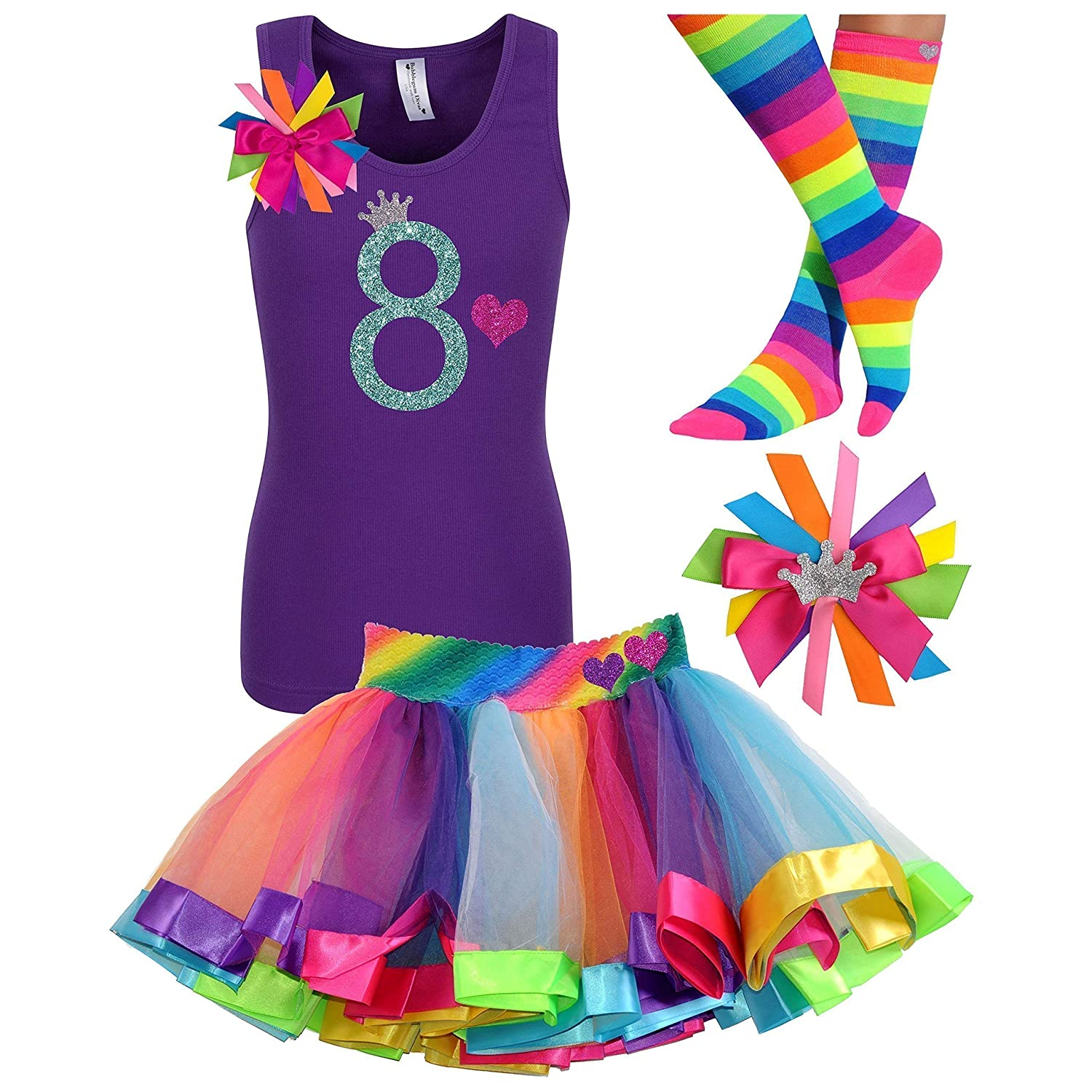 8th Birthday Shirt Rainbow Tutu Girls Party Outfit 4PC Gift Set Personalized Name Age 8