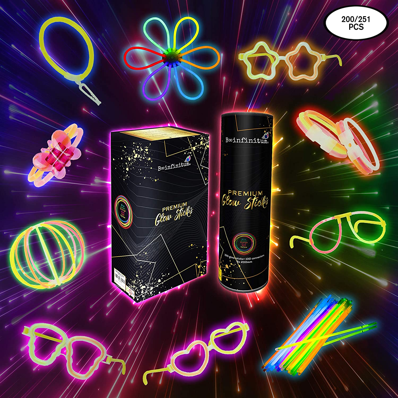 Pulseras Luminosas Fluorescentes Para Fiestas de Cumpleaños o Boda Decoracion Bautizo Comunion Carnaval |Glow Sticks Barras o Varitas Para Photobooth Photocall Fiesta Hawaiana Infantil (251 piezas)
