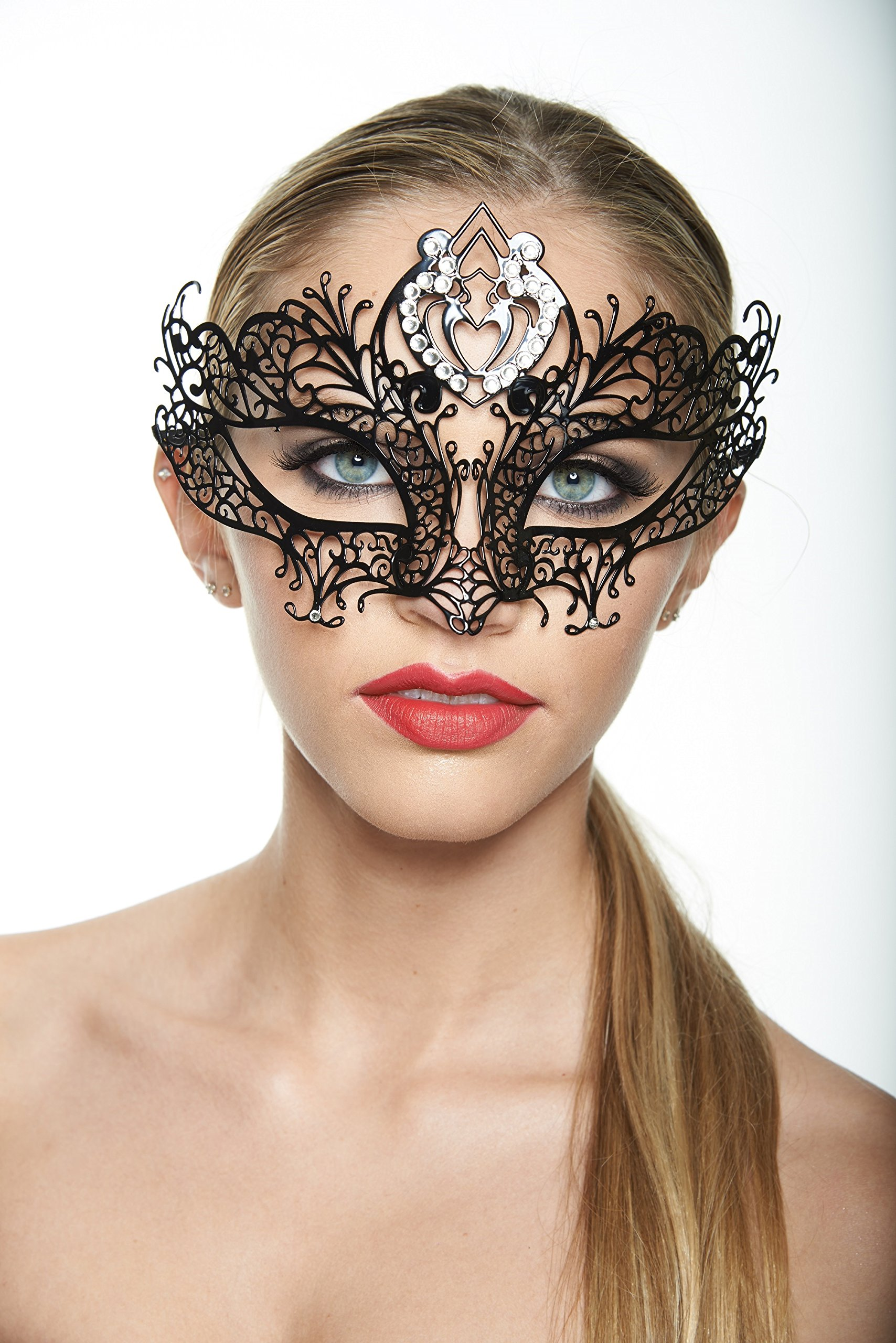 Kayso Inc Classic Black Collection Laser Cut Masquerade Masks, Love