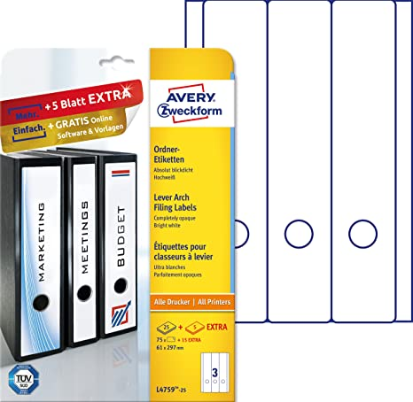 Avery L4759-25 - Etiquetas para archivadores, color blanco