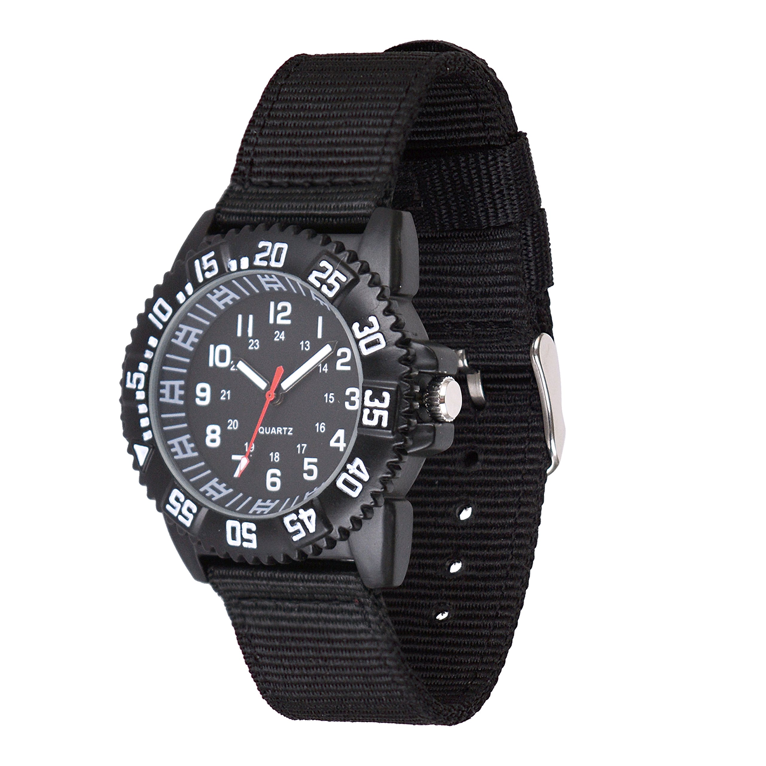 Wolfteeth Analog Watch for Boys Watch Waterproof Black Dial Black Nylon Band 302001
