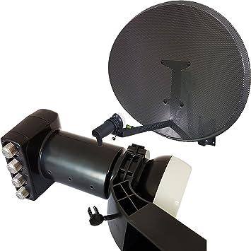 Cablefinder 60 cm MK4 Antena parabólica y LNB Quad 4 Puertos con Nivel de Burbuja – para Sky HD/Freesat/Astra – Soporte de Pared/Instalar – ...