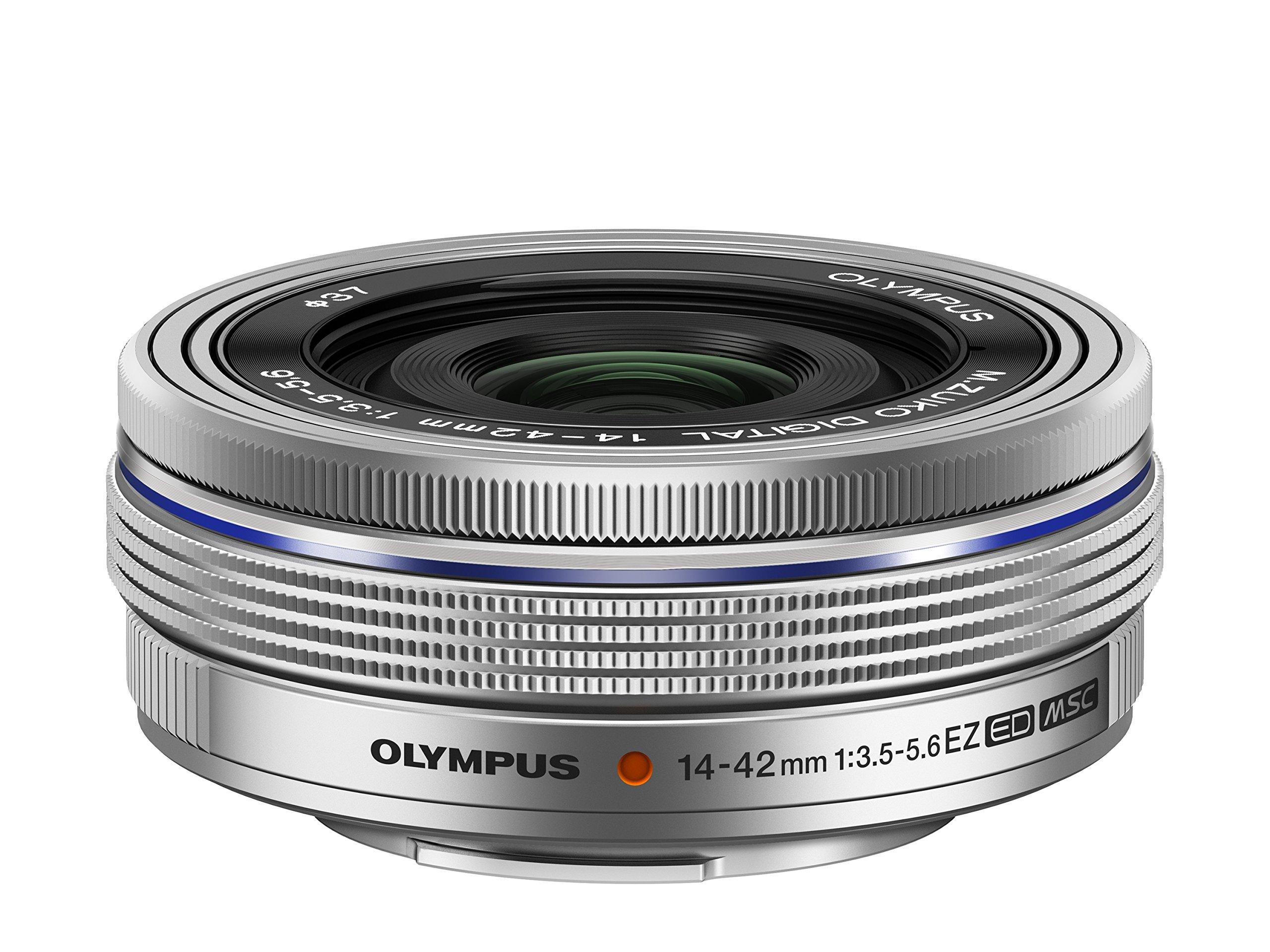 Olympus 14-42mm f3.5-5.6 EZ Interchangeable Lens for Olympus/Panasonic Micro 4/3 Digital Camera (Silver)  - International Version (No Warranty)