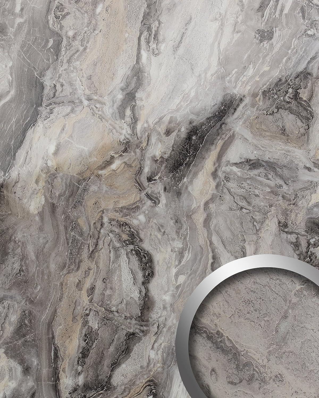 Panel de pared aspecto mármol WallFace 19340 MARBLE ALPINE Revestimiento mural liso de aspecto piedra natural brillante autoadhesivo gris marrón 2,6 m2: ...
