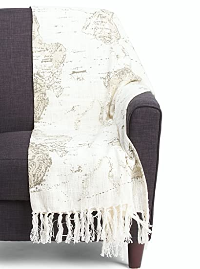 Amazon envogue vintage map blanket carte print afghan throw envogue vintage map blanket carte print afghan throw travel world map mapology 100 cotton gray gumiabroncs Images