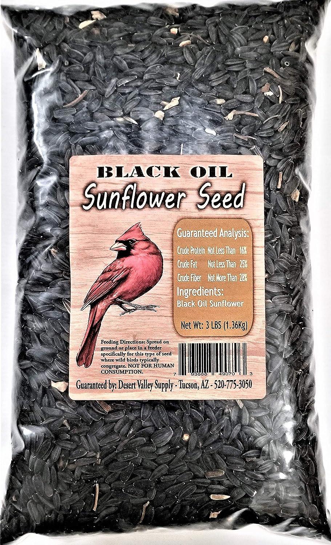 Premium Black Oil Sunflower Seed - Cardinals - Birds - Animals (3-Pounds)