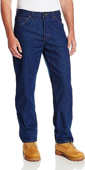 Dickies Occupational Workwear Cr393rnb Jeans Industriales De Algodon De Mezclilla De Ajuste Relajado Para Hombre Con Pierna Recta Azul Indigo Amazon Com Mx Ropa Zapatos Y Accesorios