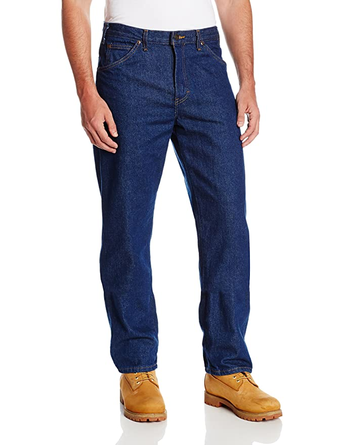 "Dickies Occupational Workwear CR393RNB 44x30 Denim Cotton Relaxed Fit Men's Industrial Jean with Straight Leg, 44"" Waist Size, 30"" Inseam, Indigo Blue best men's denim jeans"