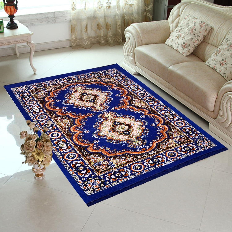 Home Elite Blue Colored Traditional Design Jute Filling Sheet Carpet