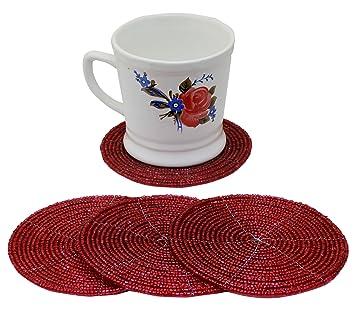 Großartig 4er Set Esstisch Untersetzer Handgemacht Glasperle Rot Untersetzer Für  Gläser Dekoration Tisch   10 Cm