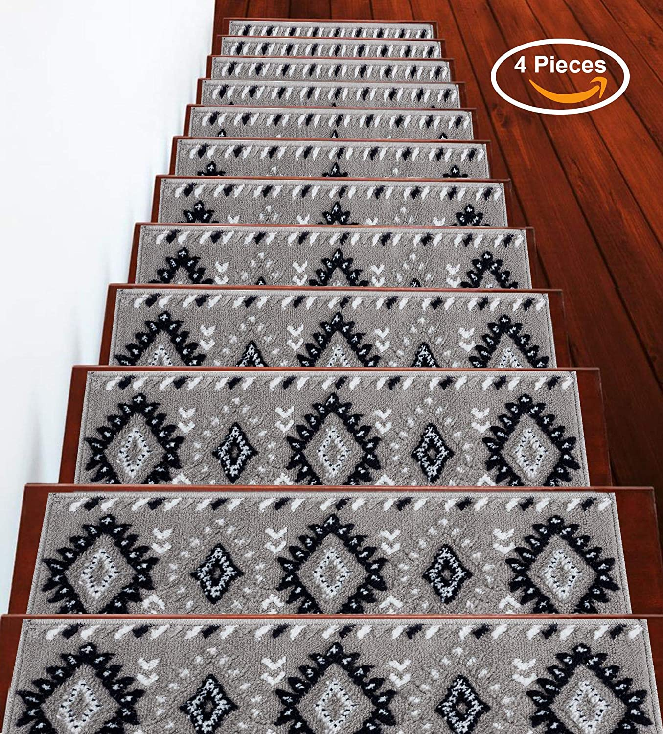 Vibrant and Soft Stair Treads Beige /& White Sussexhome Stair Treads Traditional Collection Contemporary 9 x 28 100/% Polypropylene Cozy Pack of 13