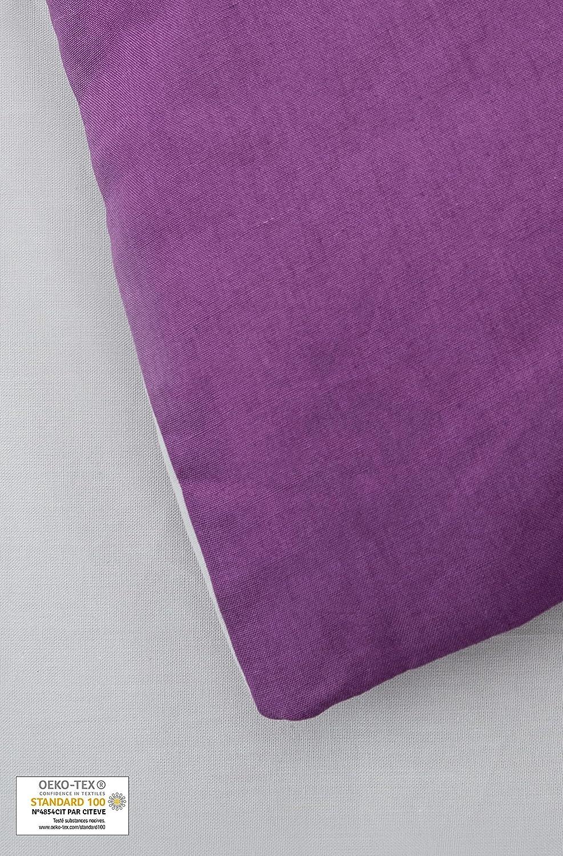 Kadolis Housse de Couette Adulte en Coton Bio 2 taies Bicolores Violet 220 x 240 cm