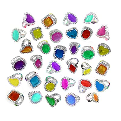 Colorful Rhinestone Rings Bulk Party Pack of 144 Plastic Jewel Rings: Health & Personal Care