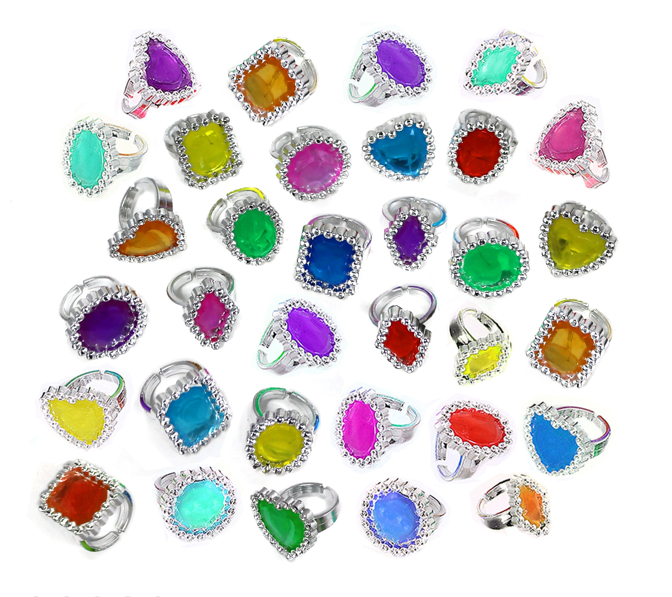 Colorful Rhinestone Rings Bulk Party Pack of 144 Plastic Jewel Rings by SN