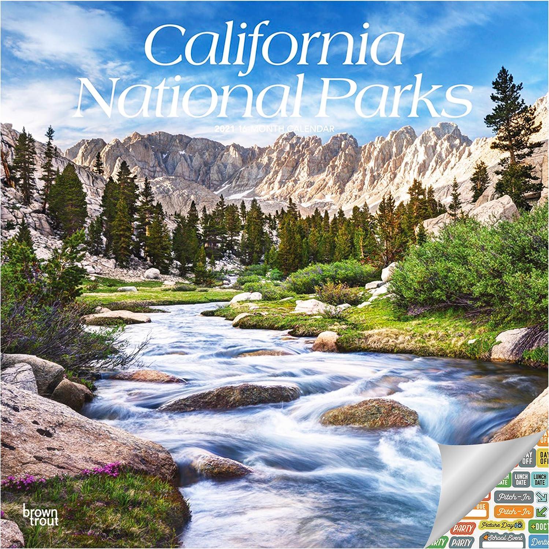 California National Parks Calendar 2021 Bundle - Deluxe 2021 California Wall Calendar with Over 100 Calendar Stickers (National Parks Gifts, Office Supplies)