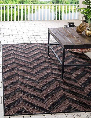 Unique Loom Outdoor Modern Collection Chevron Transitional Indoor and Outdoor Flatweave Brown Area Rug 6' 0 x 9' 0