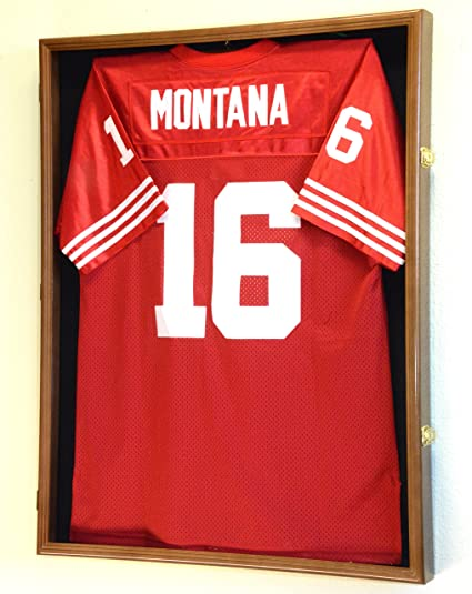 low priced 6be2a 5d93d XL Football Jersey Frame Display Case Cabinet Shadow Box w/98% UV  Protection -Walnut Finished