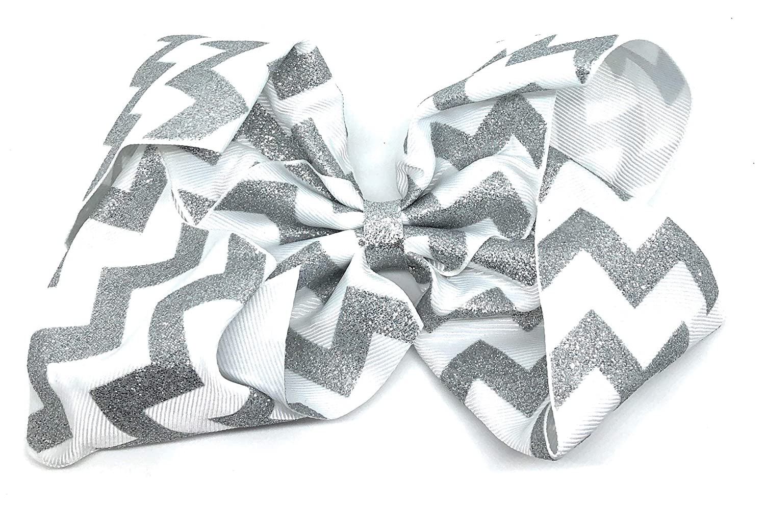 8 Inch Large Glitter Chevron Ribbon Hair Bow With Alligator Clip For Women Girls