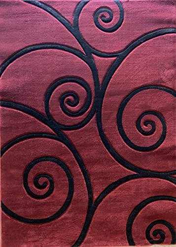 Contempo Modern Area Rug Burgundy Black Contemporary 400,000 Point Geometric Design 316 8 Feet X 10 Feet 6 Inch