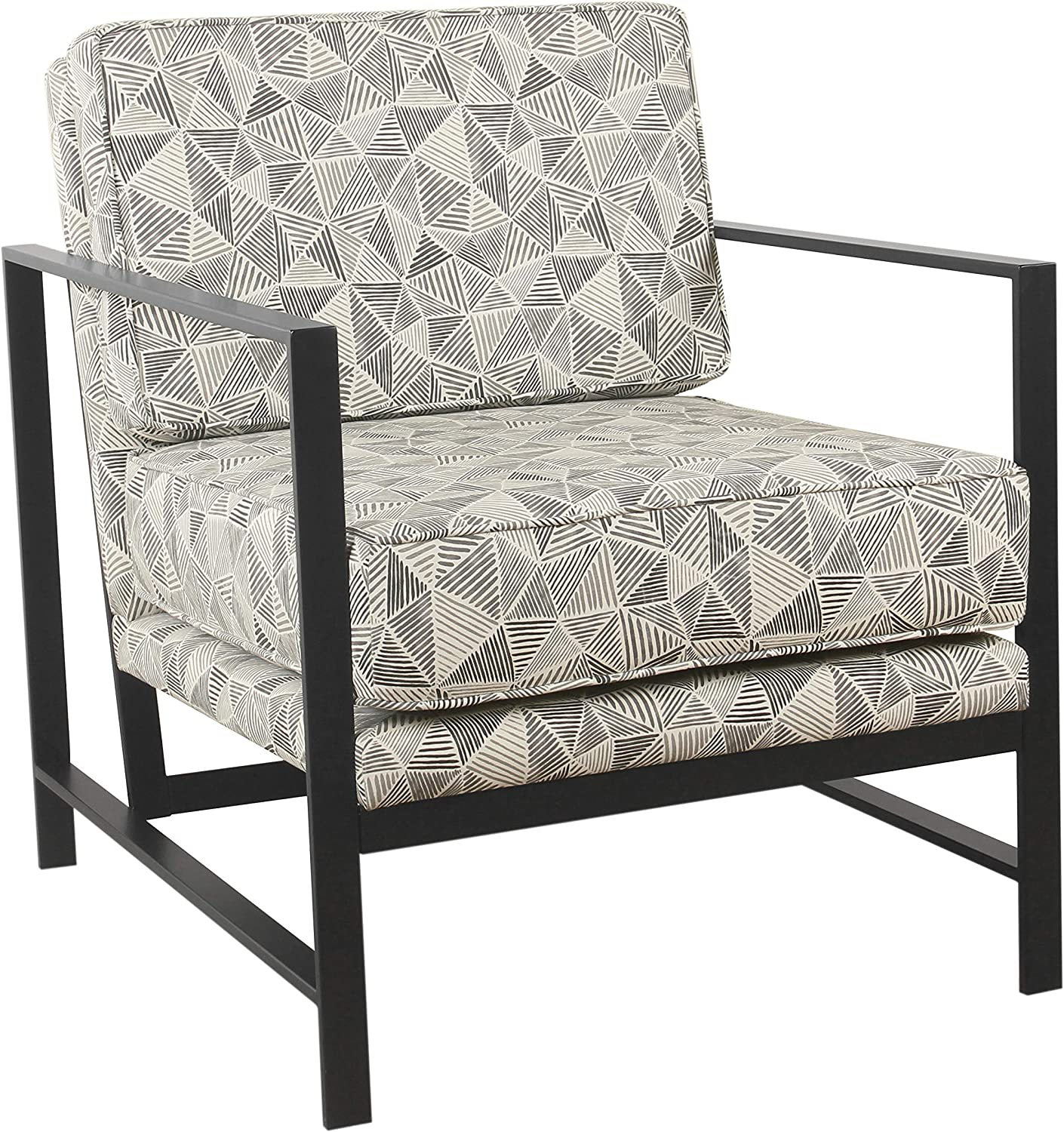 Spatial Order Hudson Modern Velvet Accent Chair with Metal Frame, Gray Lines