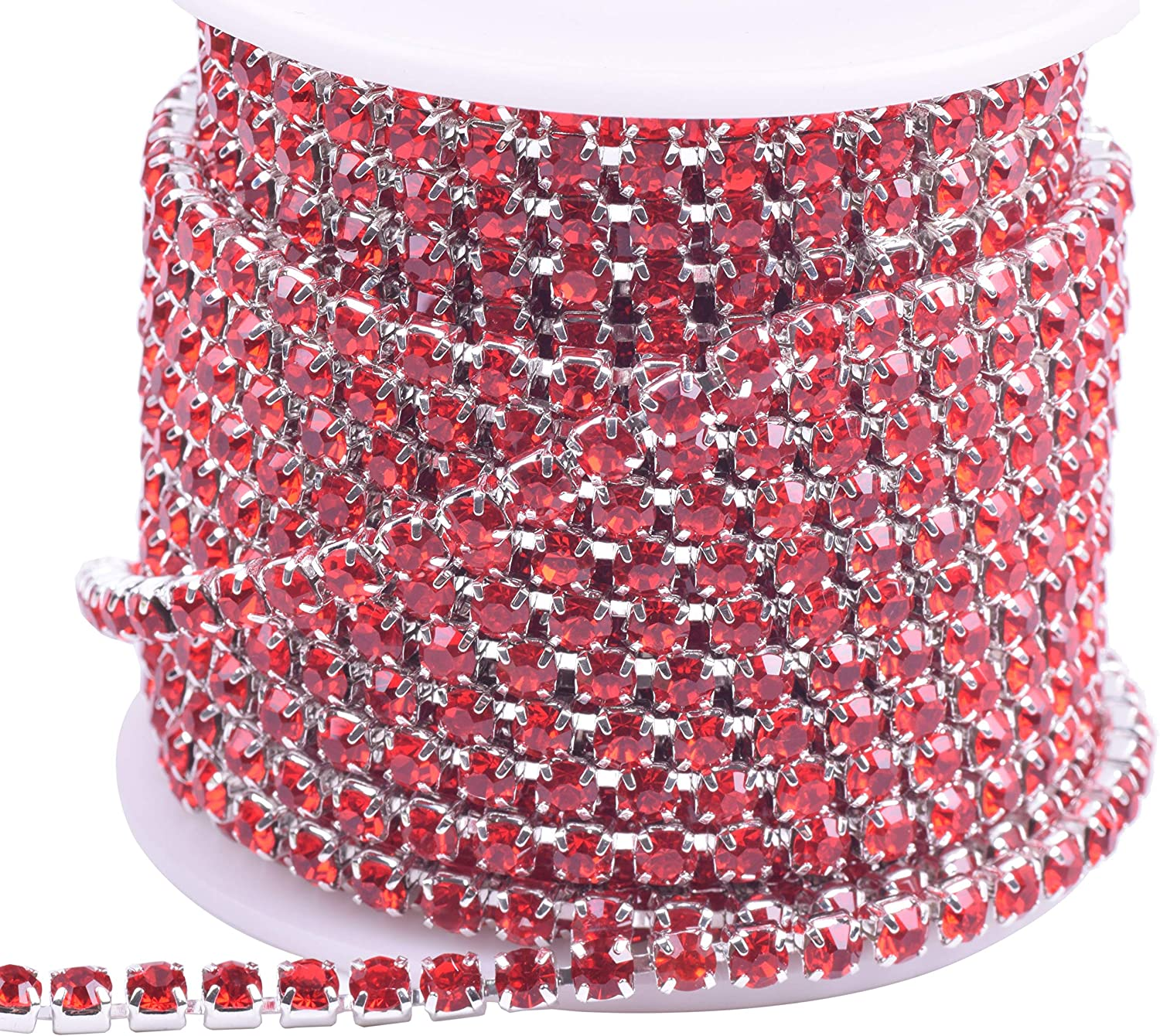 KAOYOO 1 Roll 10 Yards Crystal Rhinestone Close Chain Trim Silver Chain with AB Crystal Beads SS16//4.0mm