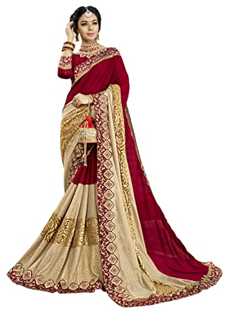 30b45c310 Shangrila Designer Women's Georgette Modern Ethnic Embroidered Fancy Saree  with Unstitched Blouse Piece (MONLS5-