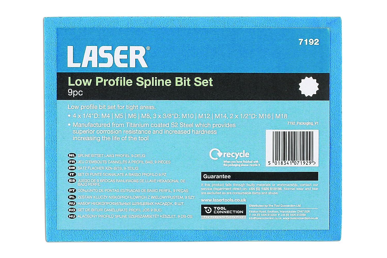 Laser 7192 Tools-Low Profile Spline Bit Set 9pc-7192