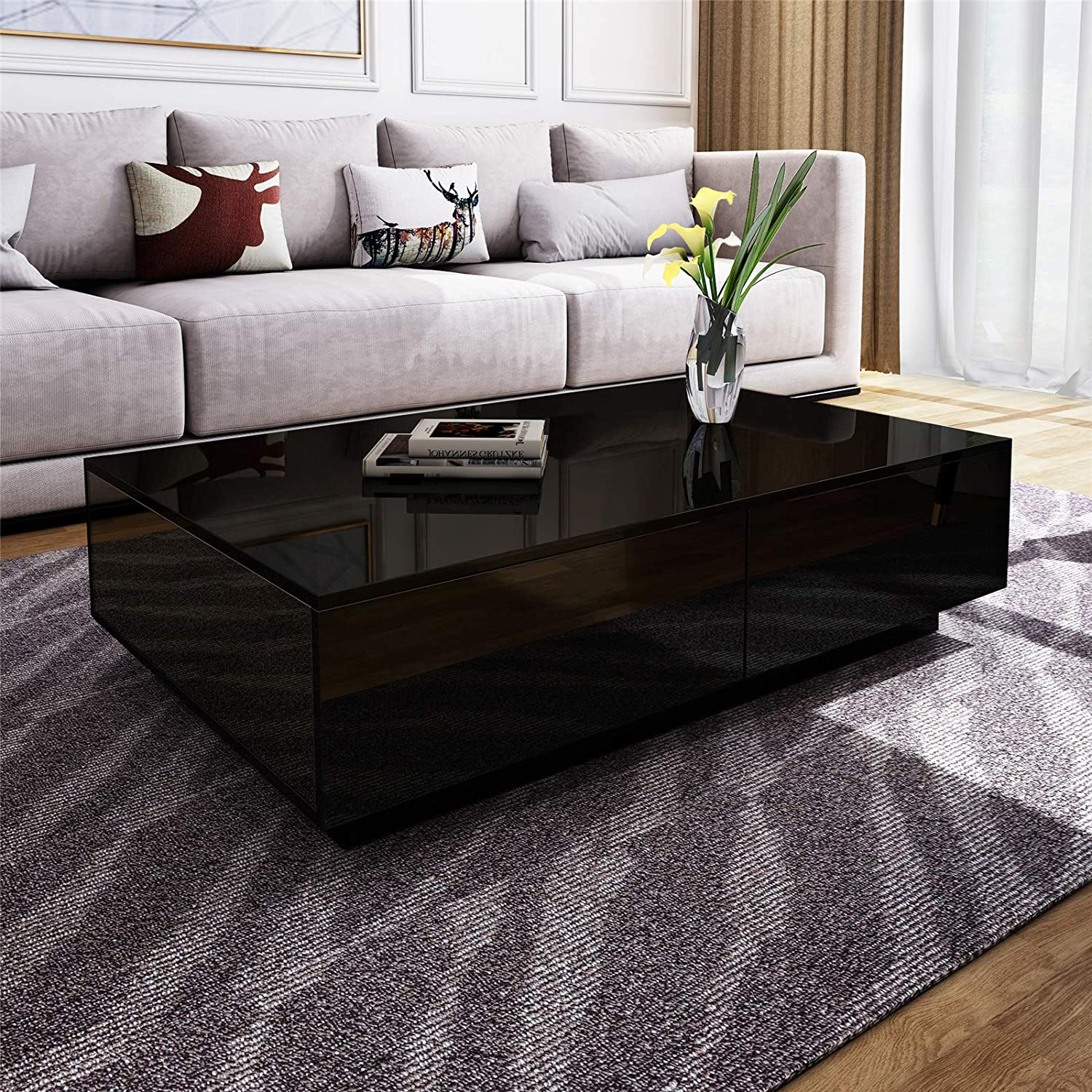 Pleasant Modern Rectangle Coffee Tea Table Black High Gloss Coffee Table With 4 Storage Drawers For Living Room Home Office Furniture Download Free Architecture Designs Scobabritishbridgeorg