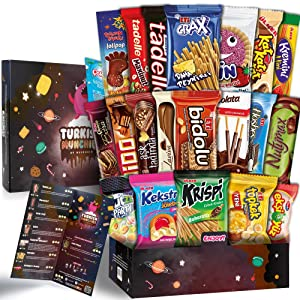 Maxi Space Premium International Snacks Variety Pack Care Package for Adults and Kids, Ultimate Assortment of Turkish Treats, Mix variety pack of snacks, Best Foreign Candy or Foreign Snacks Box