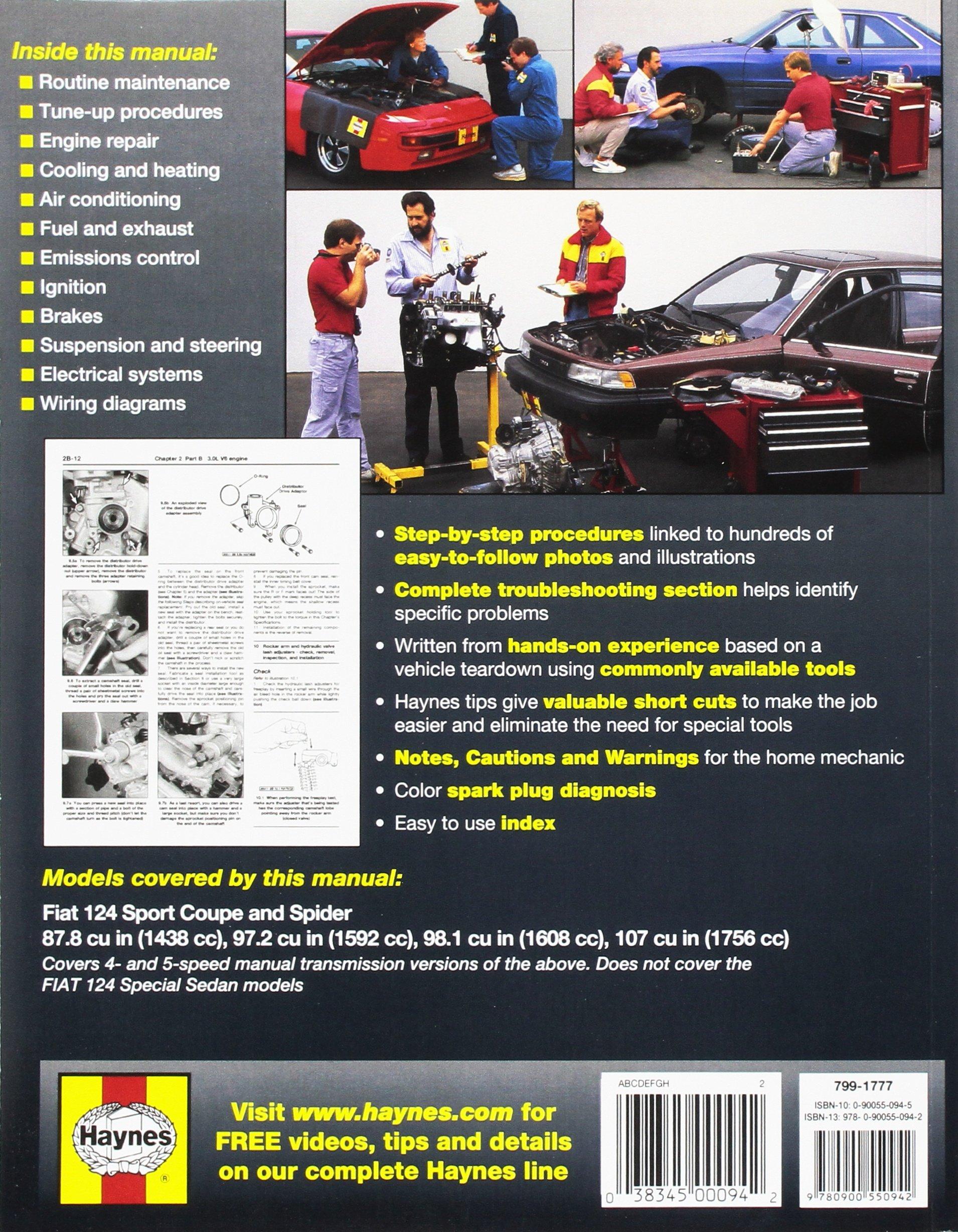 Fiat 124 Sport 1968 Thru 1978 Coupe Spider 1400 1600 1800 Wiring Diagram John Haynes 9780900550942 Books