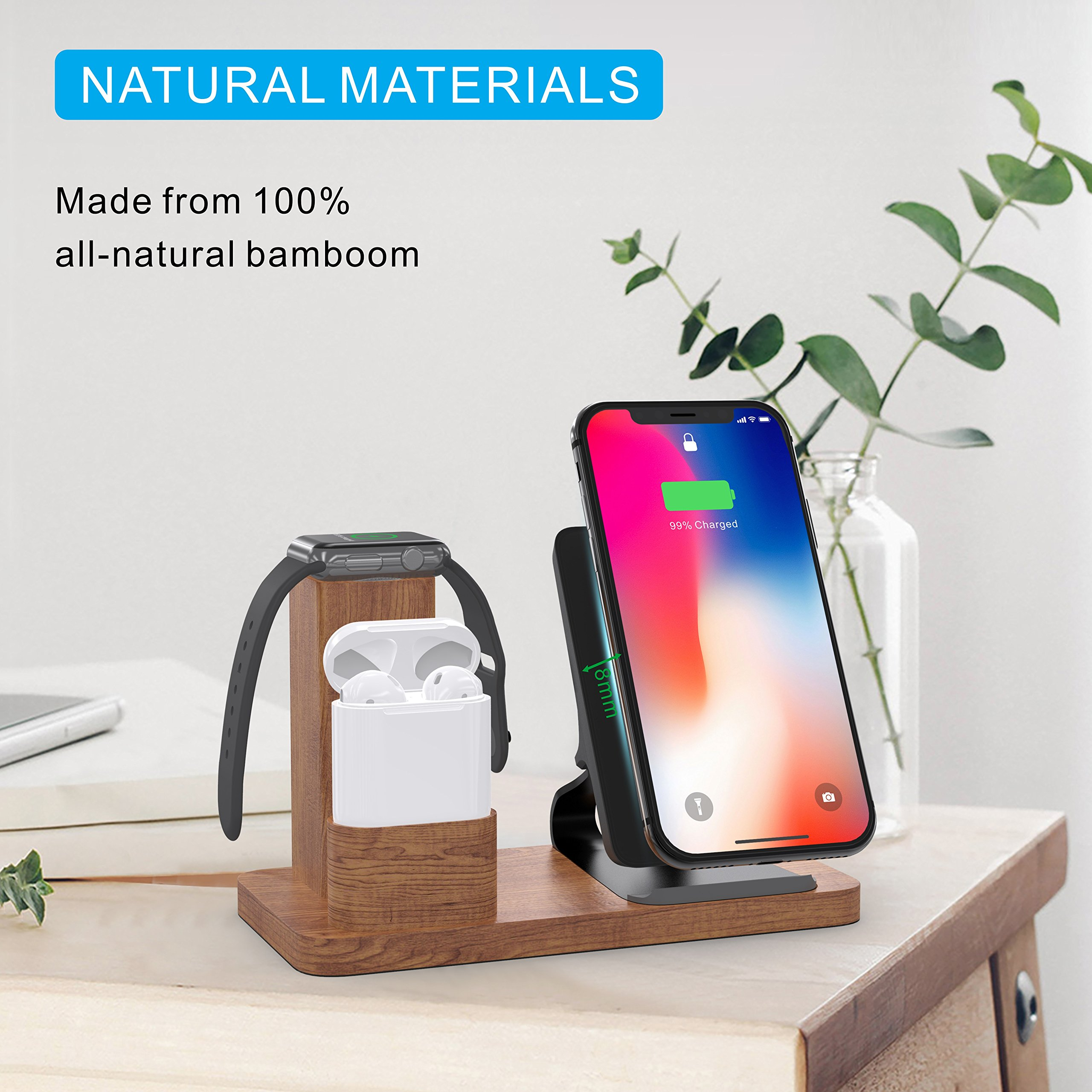 Wireless Charger Stand Apple Watch Airpods Charging Station, OLVOO 3 in 1 Wood Charging Docks for AirPods/Apple Watch Series 3/2/1 iPhone X/8/8 Plus Samsung Note 8/S9/S9 Plus by OLVOO (Image #5)