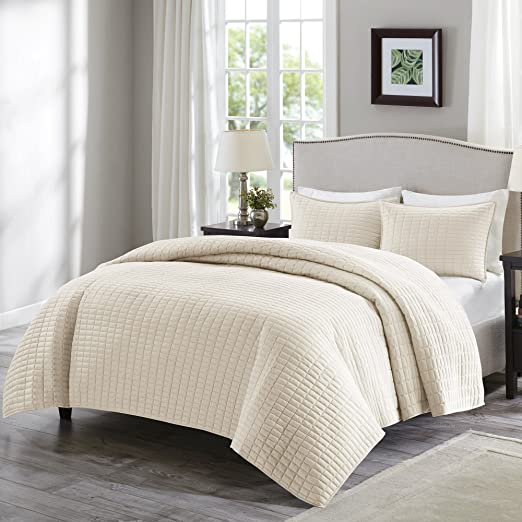 Comfort Spaces   Kienna Quilt Mini Set   2 Piece   Ivory  Stitched Quilt Pattern   Twin/Twin Xl Size, Includes 1 Quilt, 1 Sham by Comfort Spaces