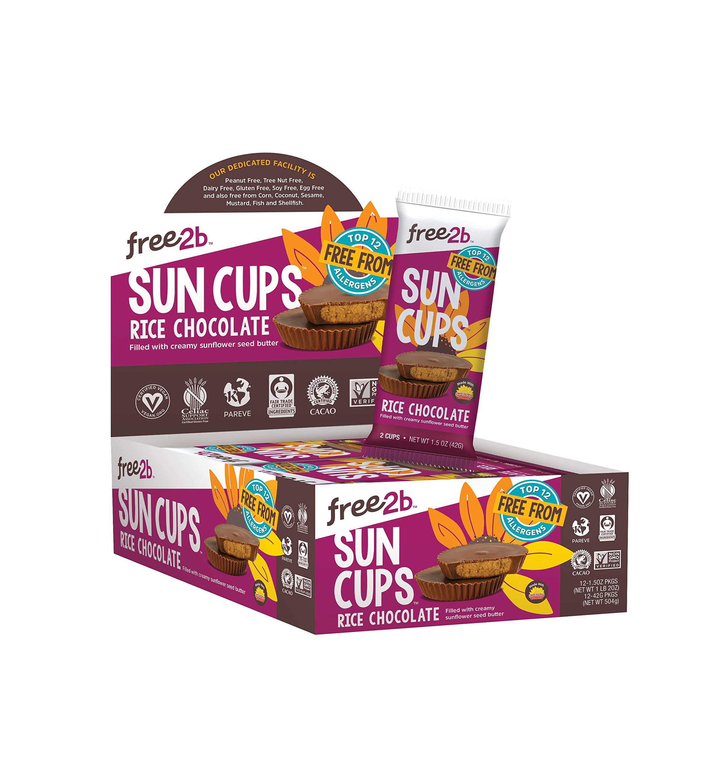 Free2b Foods Rice Chocolate Sun Cups Gluten-Free, Dairy-Free, Nut-Free and Soy-Free - 2-Cups (Pack of 12) by Free 2b