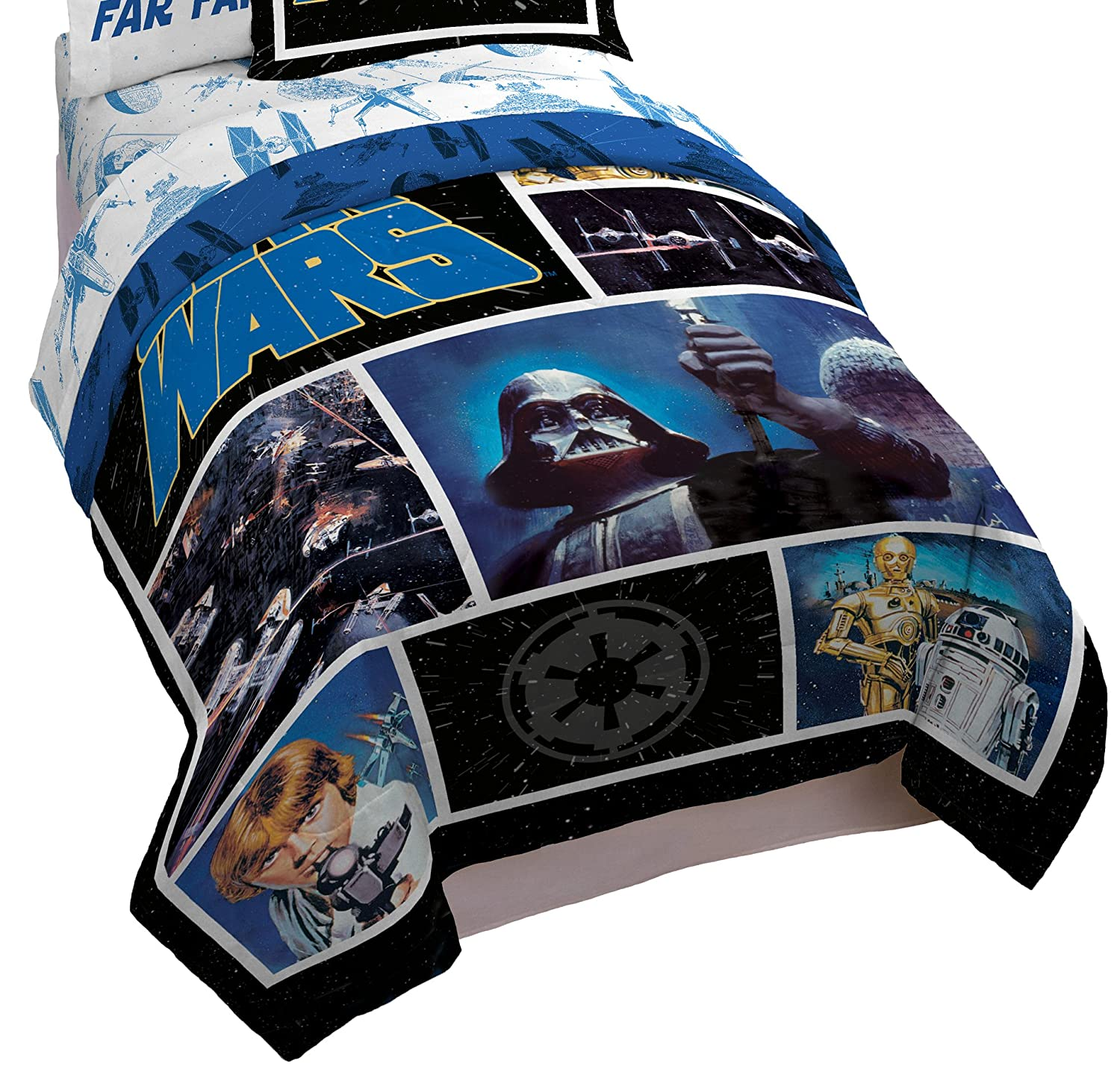 Star Wars Classic Logo Twin/Full Comforter - Super Soft Kids Reversible Bedding features Darth Vader - Fade Resistant Polyester Includes 1 Bonus Sham (Official Star Wars Product) Jay Franco and Sons Inc. JF27680ECD