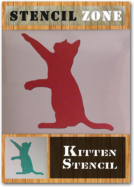 Los gatos estaban jugando animal de compa/ñ/ía mylar cepillo de aire de la pintura de la pared ni/ños Arte de la plantilla A5 Tama/ño de la plantilla - XSmal