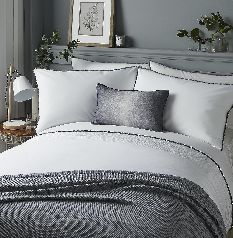 Serene Pom Pom Easy Care Duvet Cover Set Double Bed Size