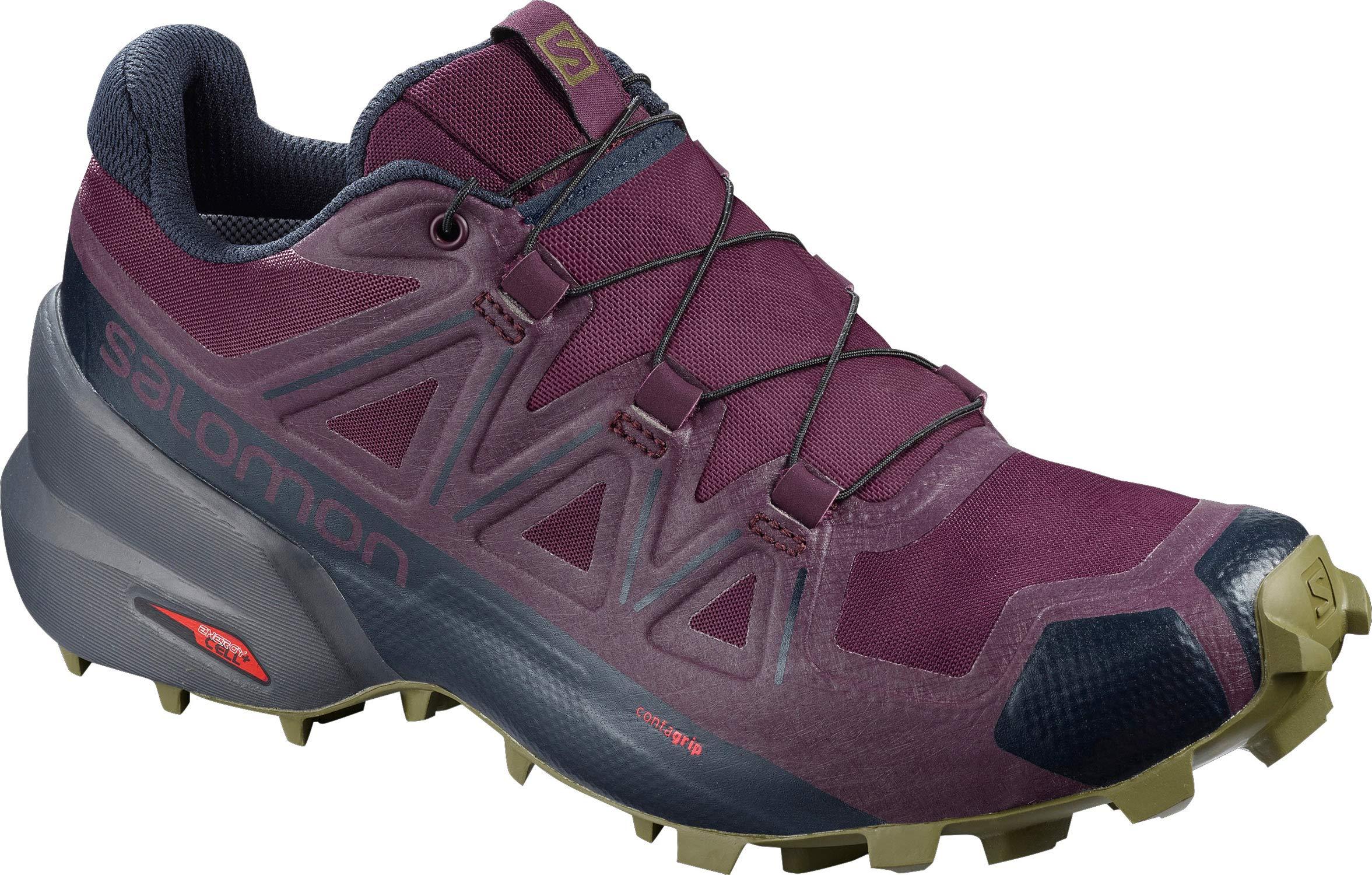 Salomon Women's Speedcross 5 Trail Running Shoes, Potent Purple/Ebony/Burnt Olive, 10 by SALOMON