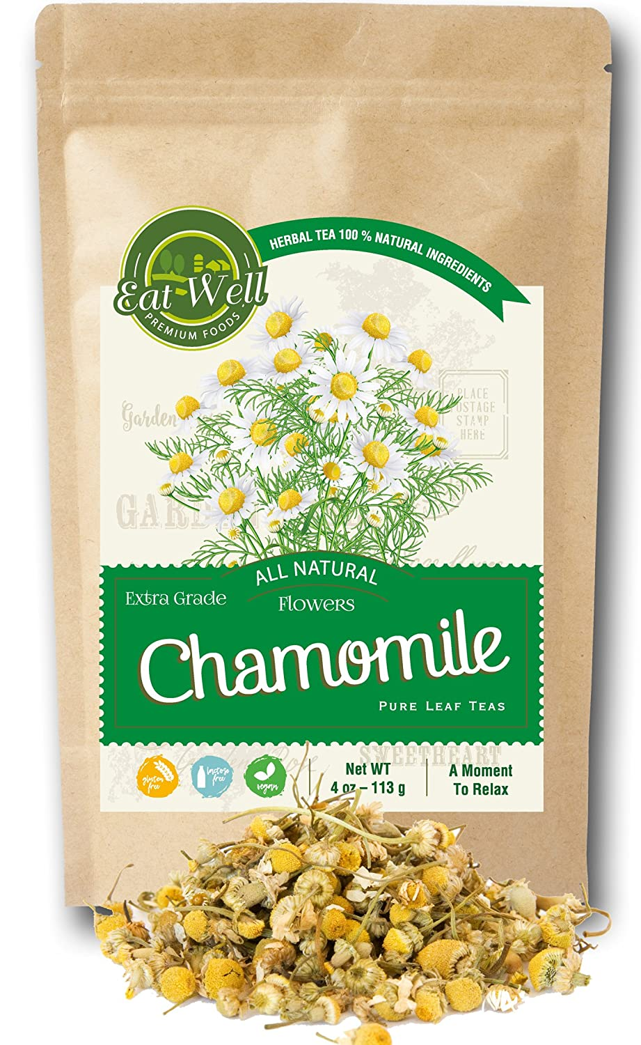 Eat Well Premium Foods - Chamomile Flowers Tea 4 oz Reseable Bag, Chamomile Tea Loose Leaf ,Dried Chamomile Herbal Tea , Relax, Sleep Well