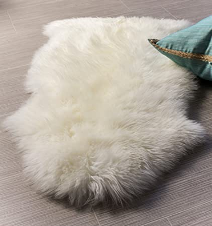 Genuine Sheepskin Rug Super Soft New Zealand Fur Throw Rug For Sofa, Bed Or