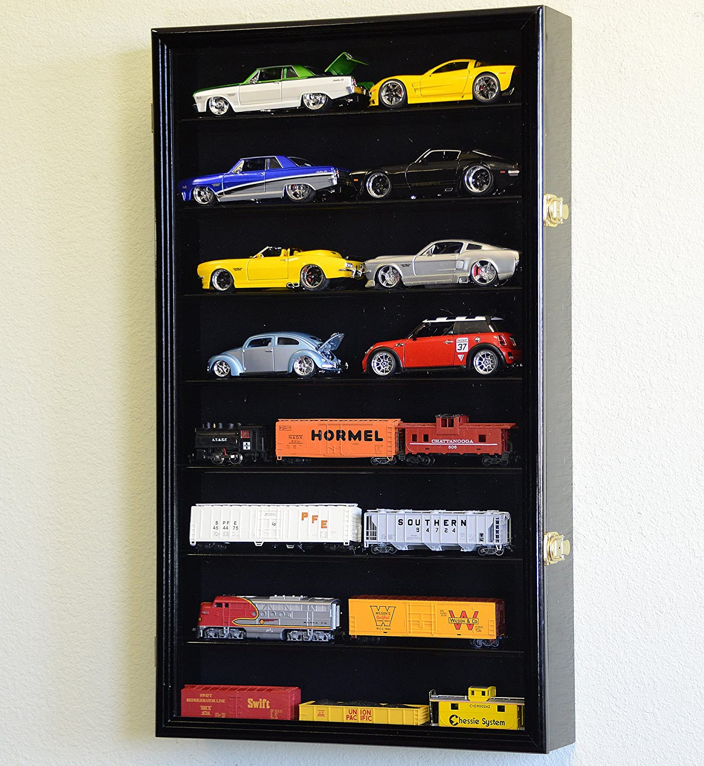 Large 124 Scale Diecast Model 16 Cars Display Case Cabinet Holder Holds 16 Cars 124 Cherry Finish