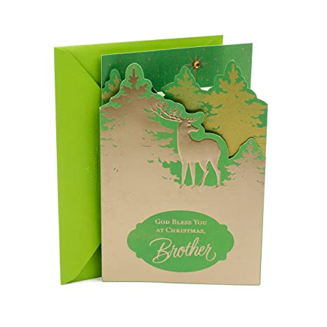 Religious Christmas Background.Dayspring Religious Christmas Card For Brother Deer Green Background