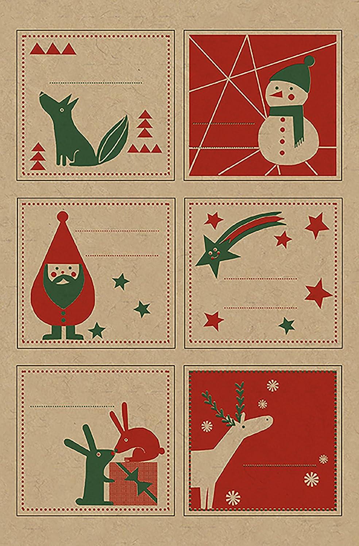 Maildor Krafty Natale fantasia etichette adesive, colore: rosso/verde, 10,5 x 16 cm (4 fogli per confezione) 5x 16cm (4fogli per confezione) Decopatch AE107O