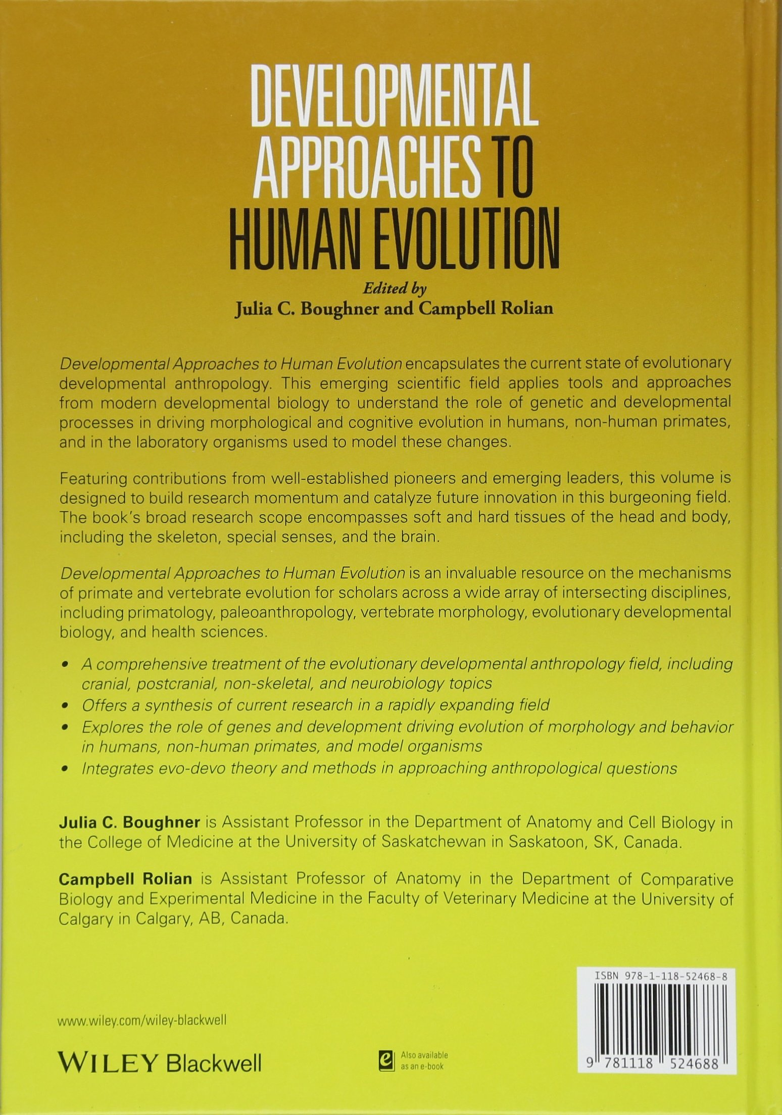 Developmental Approaches to Human Evolution: Julia C. Boughner ...