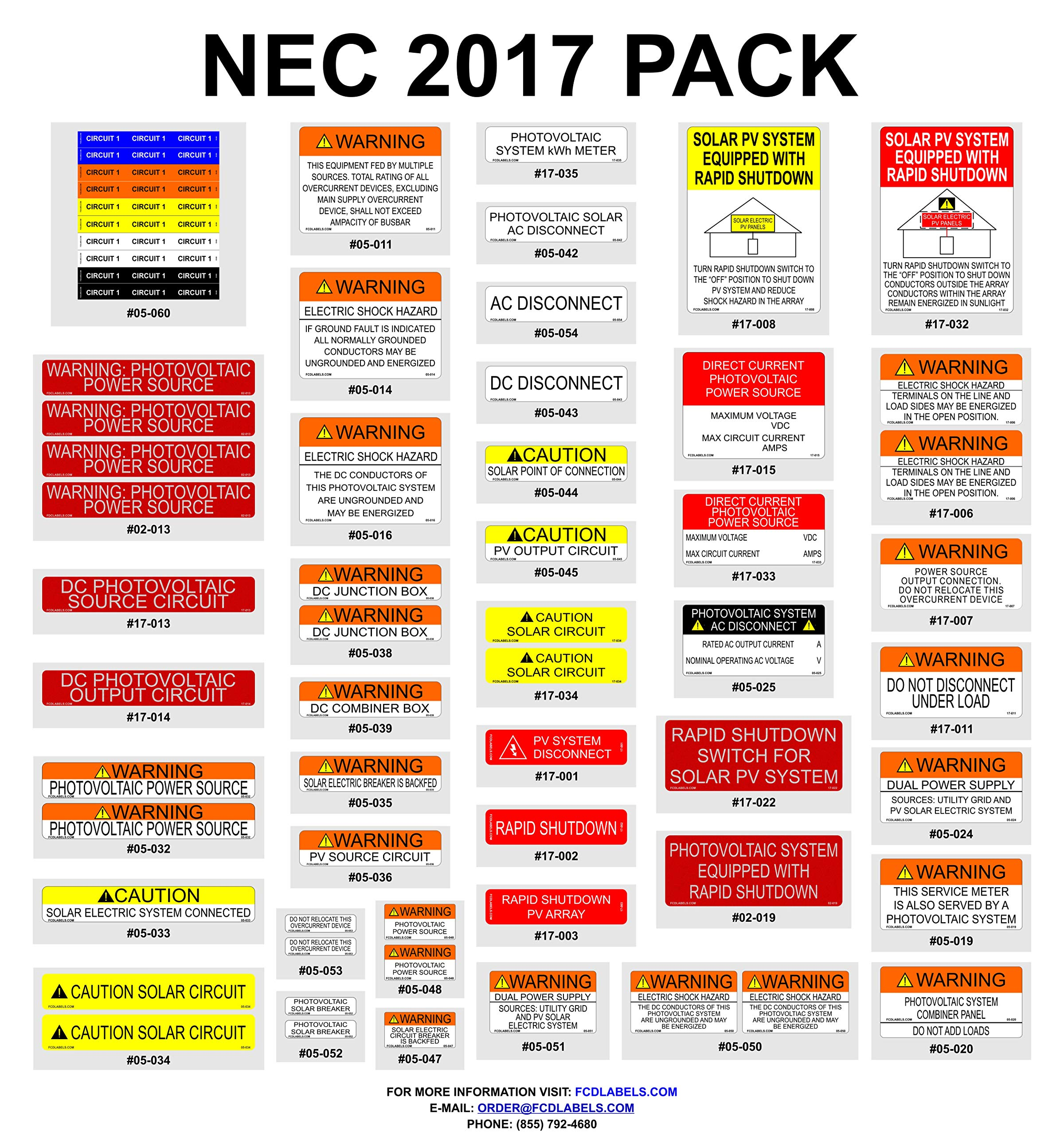 FCD Labels 17-024 Solar NEC 2017 Vinyl Label Pack (Pack of 55) by FCD Labels