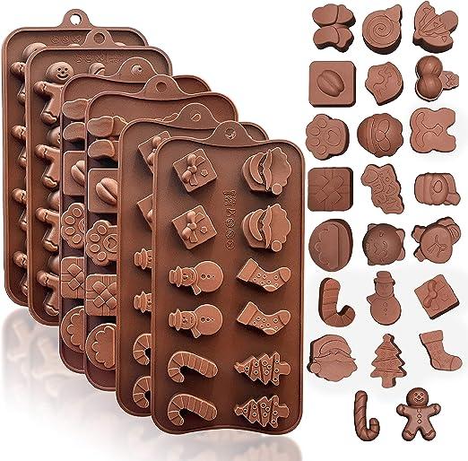 6 Cavidad Navidad Silicona Non Stick Cake Molde de pan Jalea de chocolate Jab/ón Jab/ón Molde para hornear 2 PIEZAS